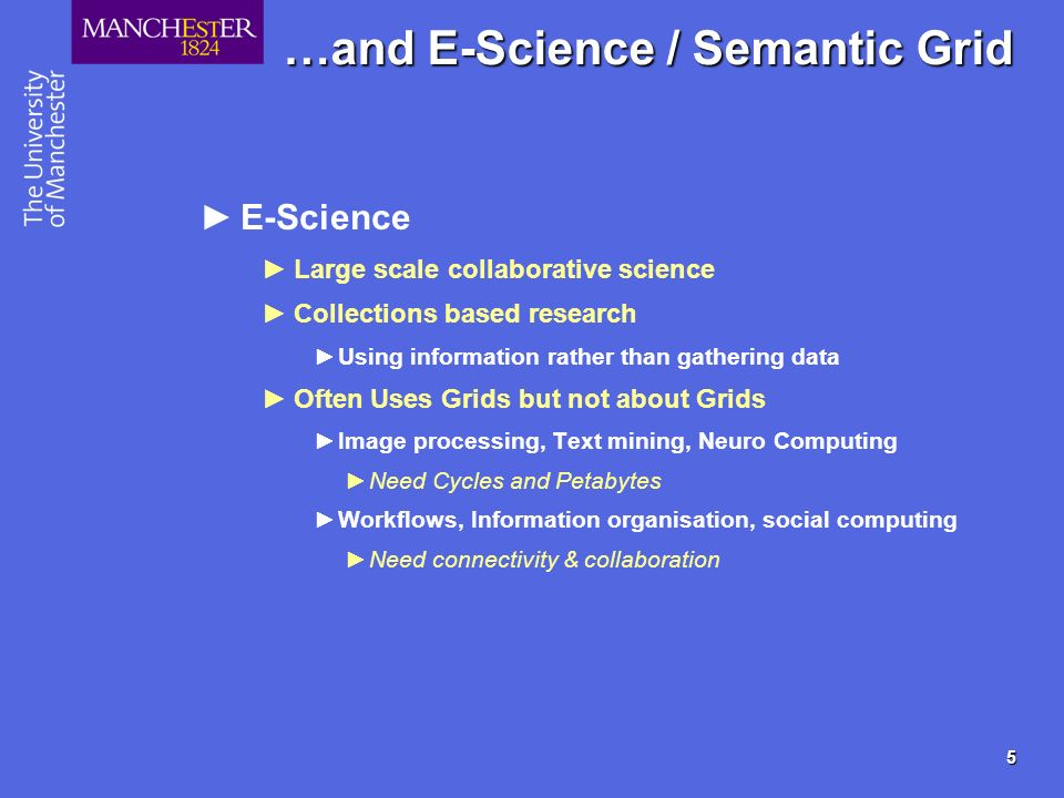 5 …and E-Science / Semantic Grid E-Science Large scale collaborative science Collections based research Using information rather than gathering data O