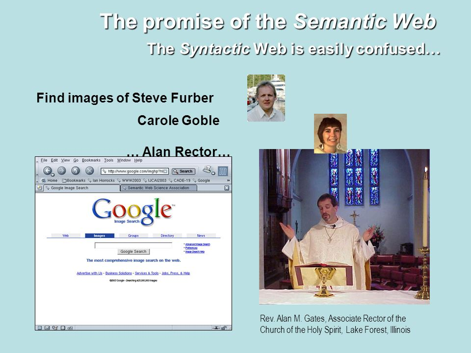8 The promise of the Semantic Web The Syntactic Web is easily confused… Find images of Steve Furber Rev. Alan M. Gates, Associate Rector of the Church