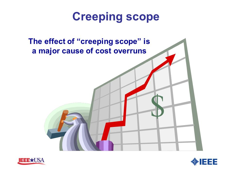 The effect of creeping scope is a major cause of cost overruns $ Creeping scope