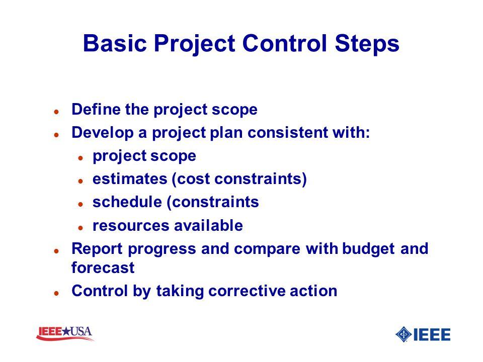 Basic Project Control Steps l Define the project scope l Develop a project plan consistent with: l project scope l estimates (cost constraints) l sche
