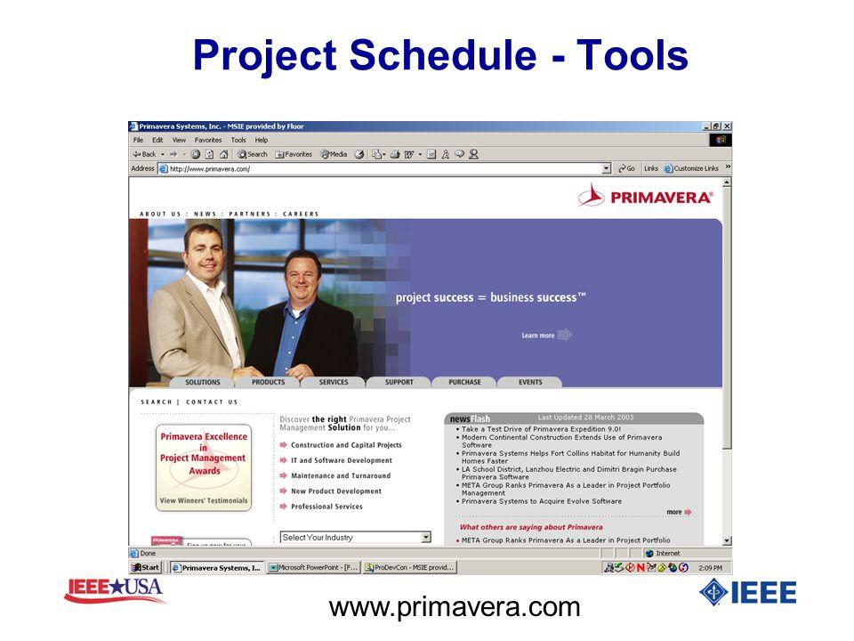 Project Schedule - Tools www.primavera.com