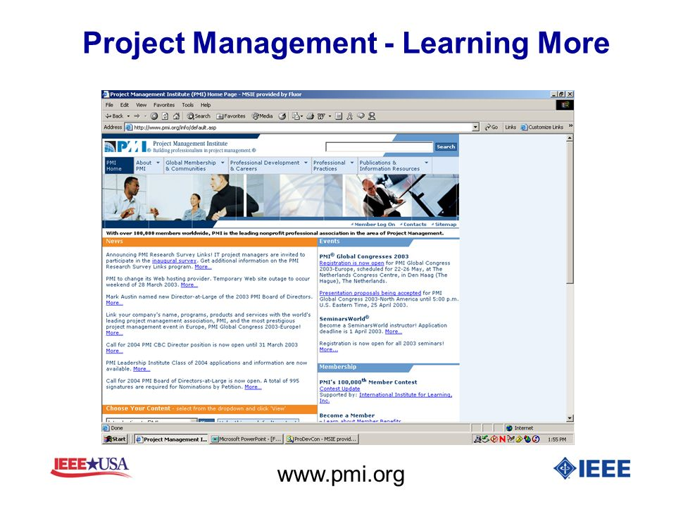 Project Management - Learning More www.pmi.org