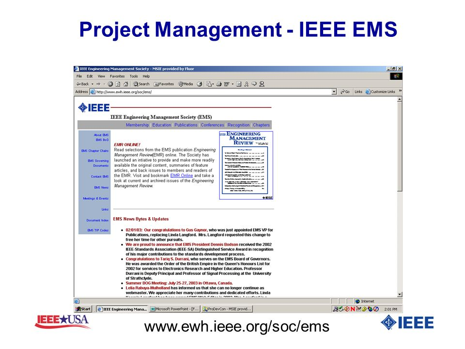 Project Management - IEEE EMS www.ewh.ieee.org/soc/ems