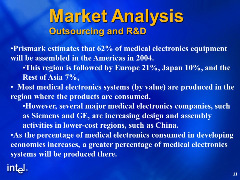 11 Prismark estimates that 62% of medical electronics equipment will be assembled in the Americas in 2004. This region is followed by Europe 21%, Japa