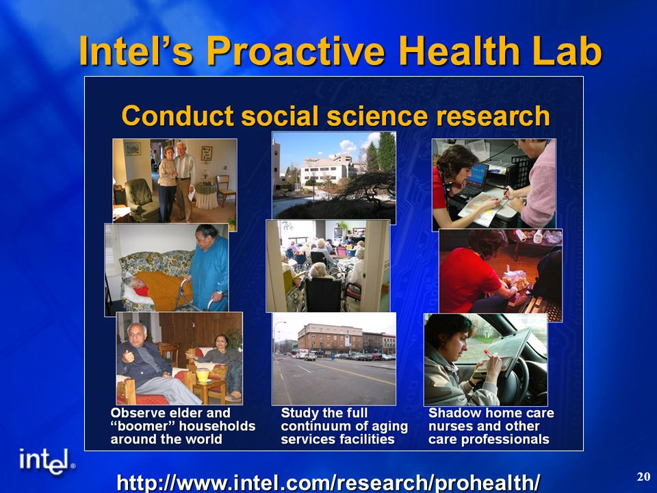 20 Intels Proactive Health Lab http://www.intel.com/research/prohealth/