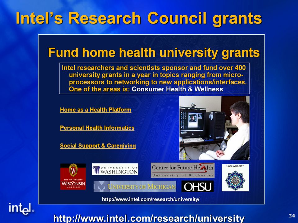 24 Intels Research Council grants http://www.intel.com/research/university
