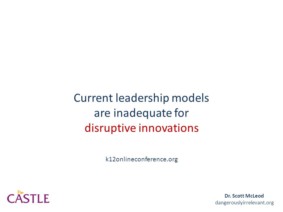 Current leadership models are inadequate for disruptive innovations Dr.