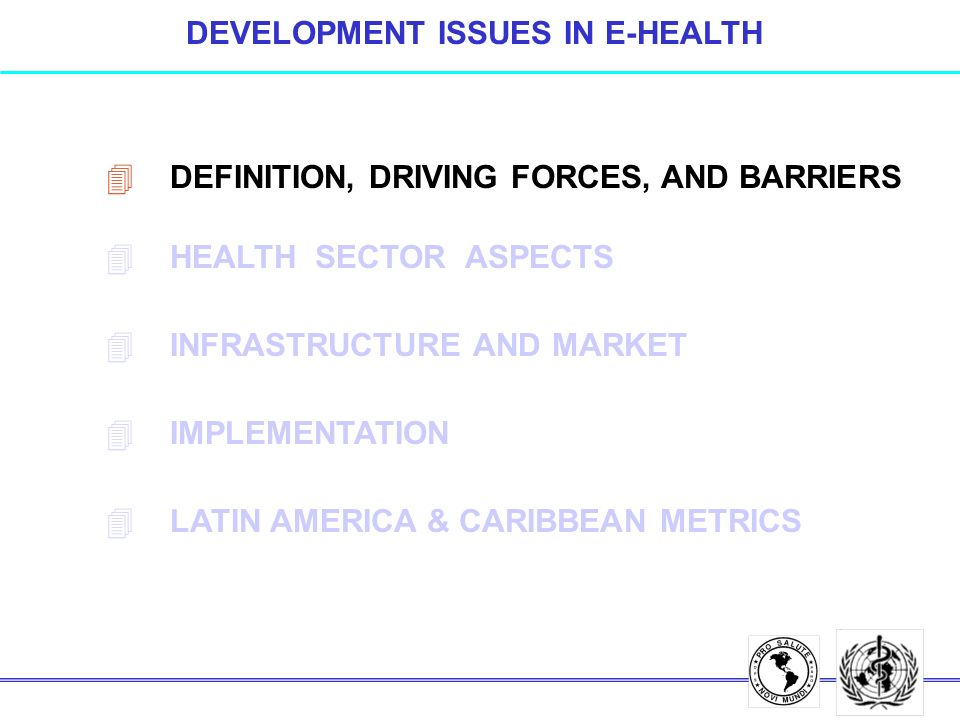 INFORMATION TECHNOLOGY DEPLOYMENT (2) l LACK OF INVOLVEMENT OF LINE MANAGERS l DISCONTINUITY OF INSTITUTIONAL STRATEGIES / POLICIES l LOW QUALITY OF PRIMARY DATA l OVERRIDING OF DEPARTMENTAL BORDERS AND AUTHORITIES l EDUCATION AND TRAINING OF HEALTH PROFESSIONALS l VENDOR DEPENDENCY TECHNOLOGY BARRIERS (3)