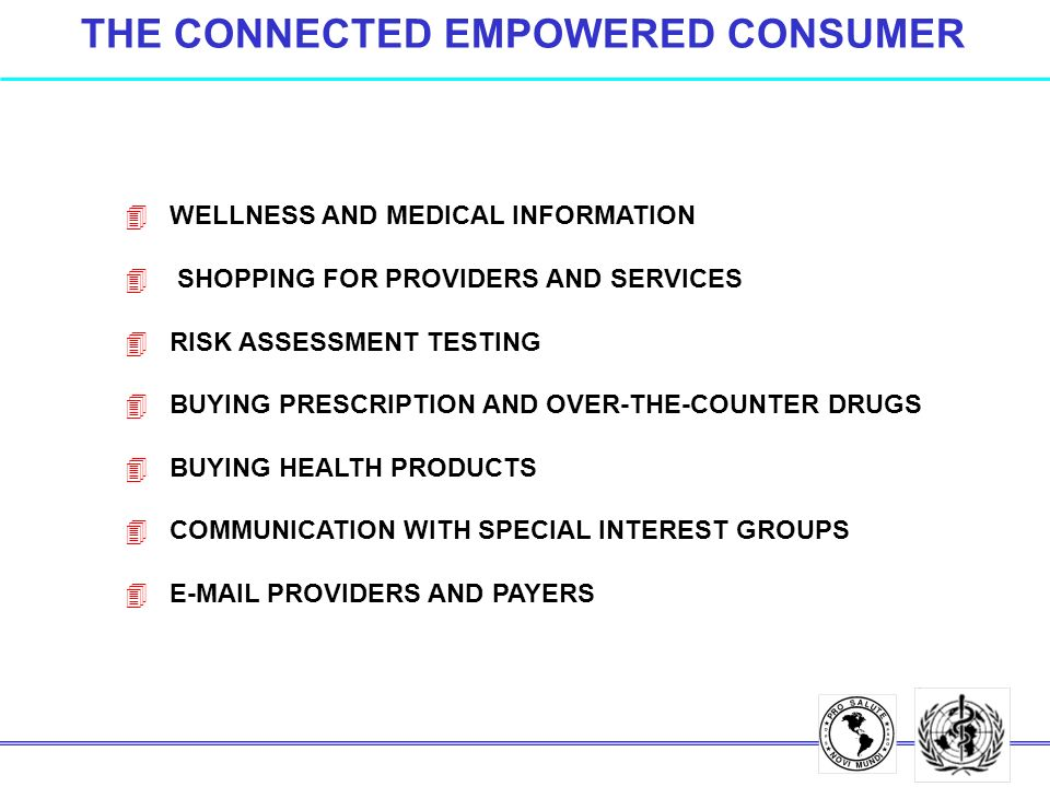 THE CONNECTED EMPOWERED CONSUMER 4 WELLNESS AND MEDICAL INFORMATION 4 SHOPPING FOR PROVIDERS AND SERVICES 4 RISK ASSESSMENT TESTING 4 BUYING PRESCRIPTION AND OVER-THE-COUNTER DRUGS 4 BUYING HEALTH PRODUCTS 4 COMMUNICATION WITH SPECIAL INTEREST GROUPS 4 E-MAIL PROVIDERS AND PAYERS