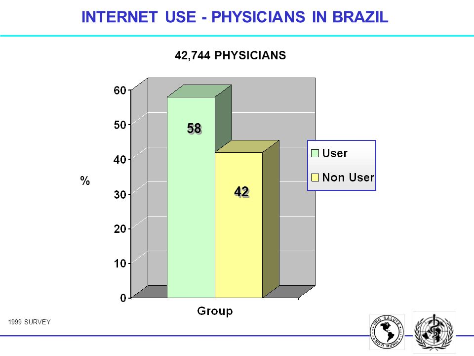 INTERNET USE - PHYSICIANS IN BRAZIL 42,744 PHYSICIANS 1999 SURVEY 5858 4242 %