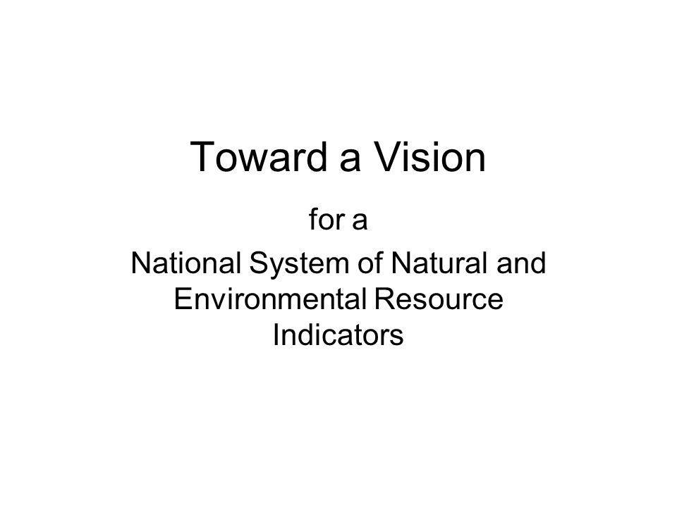 Toward a Vision for a National System of Natural and Environmental Resource Indicators