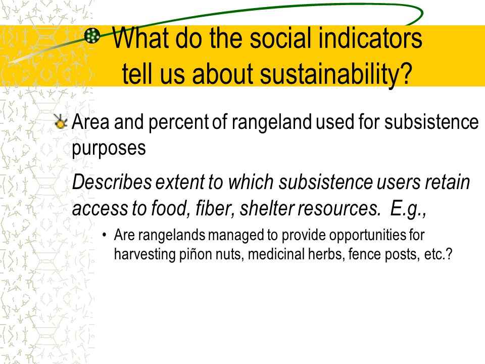 What do the social indicators tell us about sustainability? Area and percent of rangeland used for subsistence purposes Describes extent to which subs