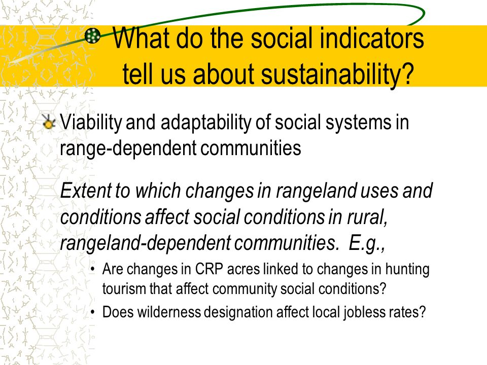 What do the social indicators tell us about sustainability.