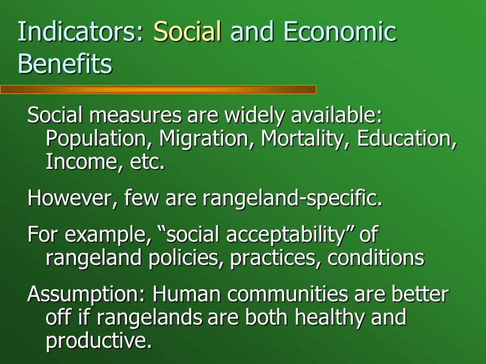Indicators: Social and Economic Benefits Social measures are widely available: Population, Migration, Mortality, Education, Income, etc. However, few