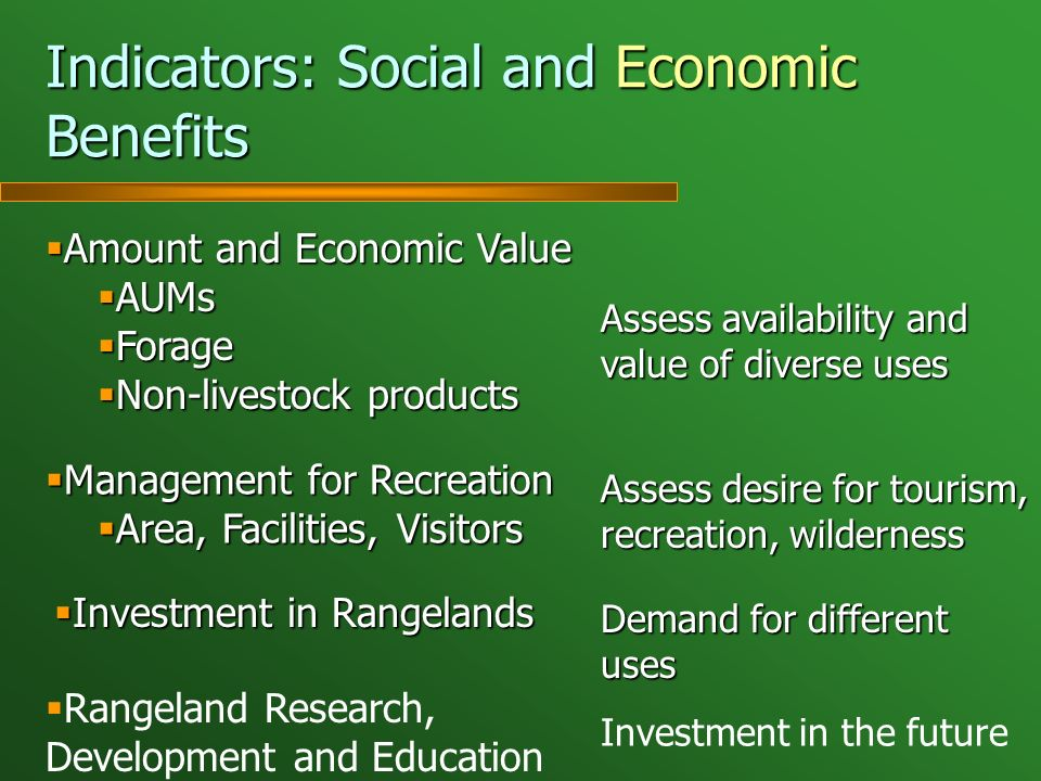 Indicators: Social and Economic Benefits Amount and Economic Value Amount and Economic Value AUMs AUMs Forage Forage Non-livestock products Non-livest