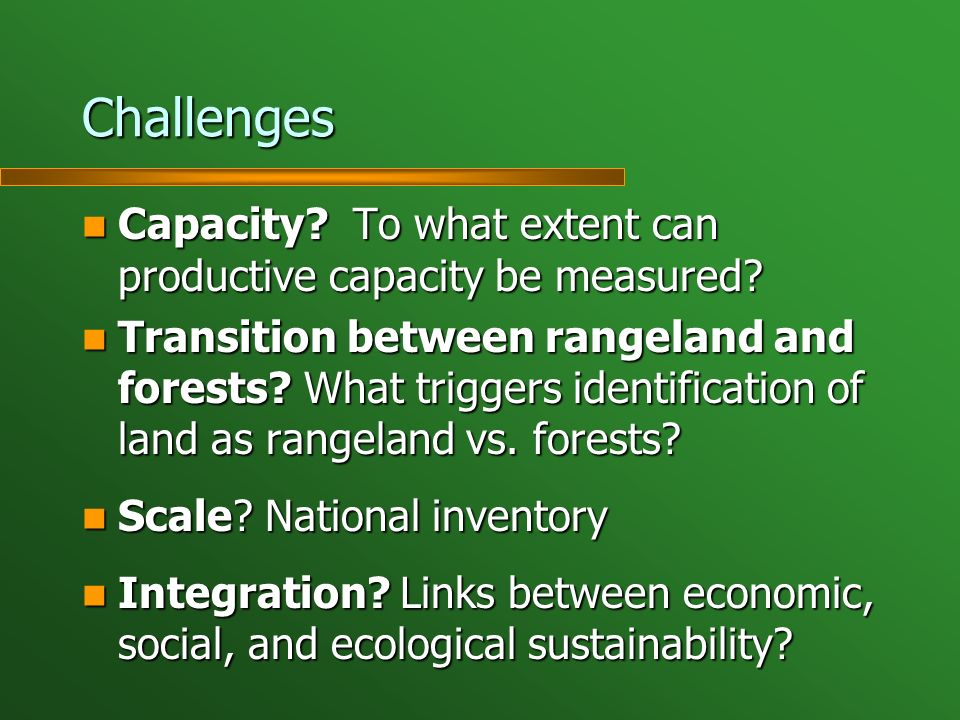 Challenges Capacity? To what extent can productive capacity be measured? Capacity? To what extent can productive capacity be measured? Transition betw