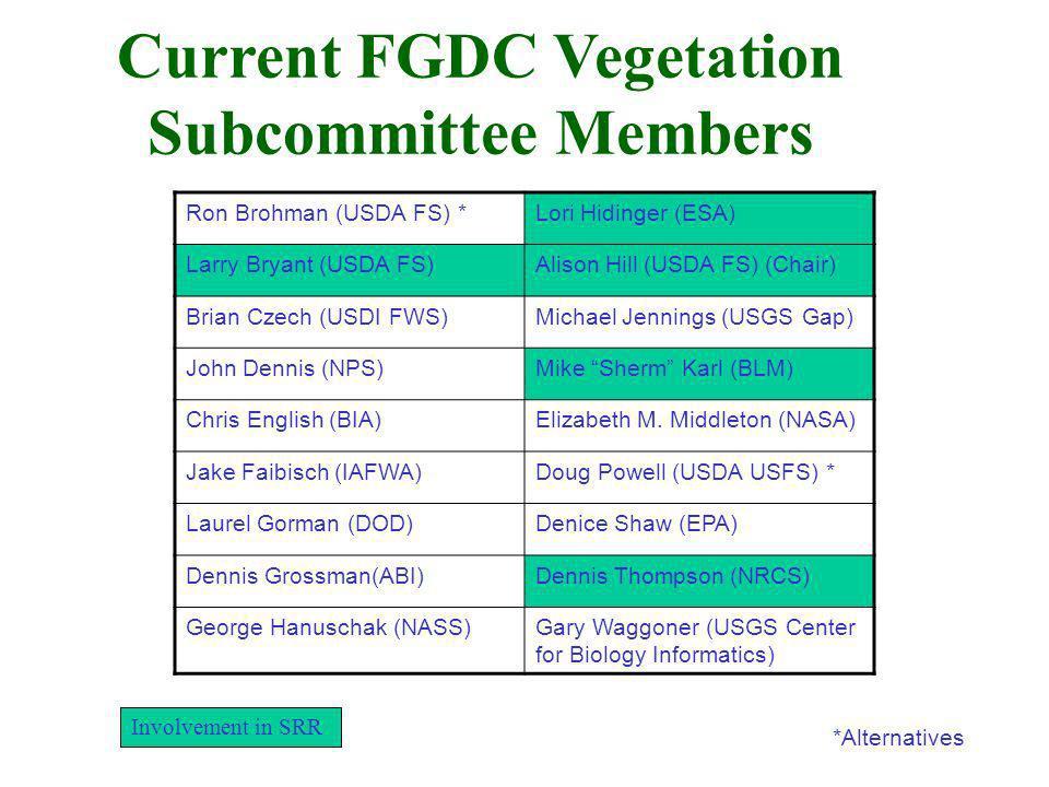 Current FGDC Vegetation Subcommittee Members *Alternatives Ron Brohman (USDA FS) *Lori Hidinger (ESA) Larry Bryant (USDA FS)Alison Hill (USDA FS) (Cha