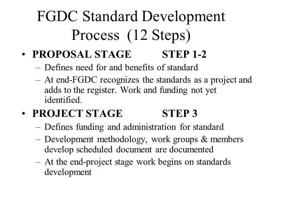 FGDC Standard Development Process (12 Steps) PROPOSAL STAGESTEP 1-2 –Defines need for and benefits of standard –At end-FGDC recognizes the standards as a project and adds to the register.