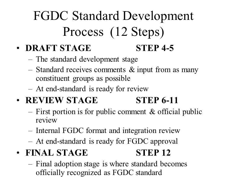 FGDC Standard Development Process (12 Steps) DRAFT STAGESTEP 4-5 –The standard development stage –Standard receives comments & input from as many constituent groups as possible –At end-standard is ready for review REVIEW STAGESTEP 6-11 –First portion is for public comment & official public review –Internal FGDC format and integration review –At end-standard is ready for FGDC approval FINAL STAGESTEP 12 –Final adoption stage is where standard becomes officially recognized as FGDC standard
