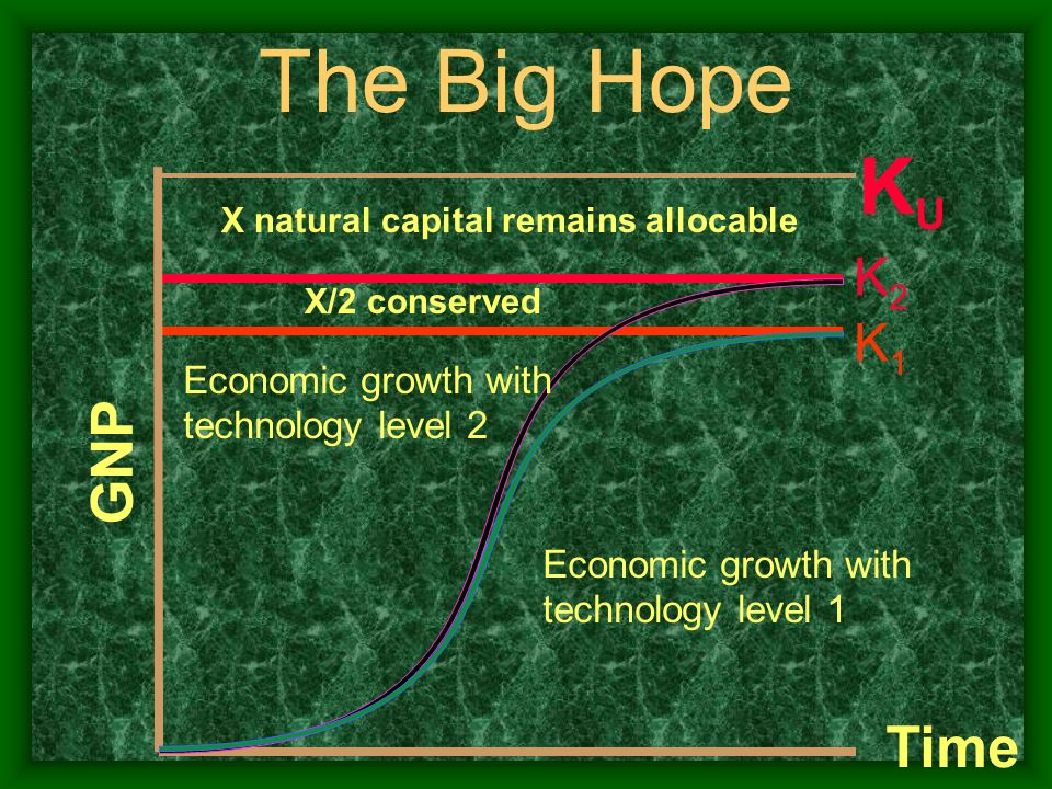 X/2 conserved K1K1 K2K2 GNP Time X natural capital remains allocable KUKU Economic growth with technology level 2 Economic growth with technology leve