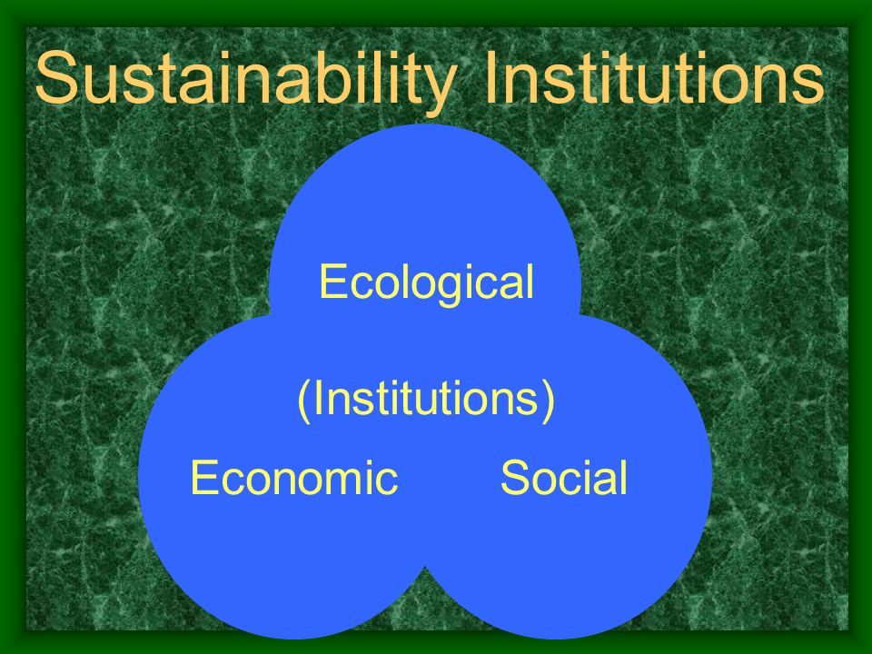 Sustainability Institutions Ecological SocialEconomic (Institutions)