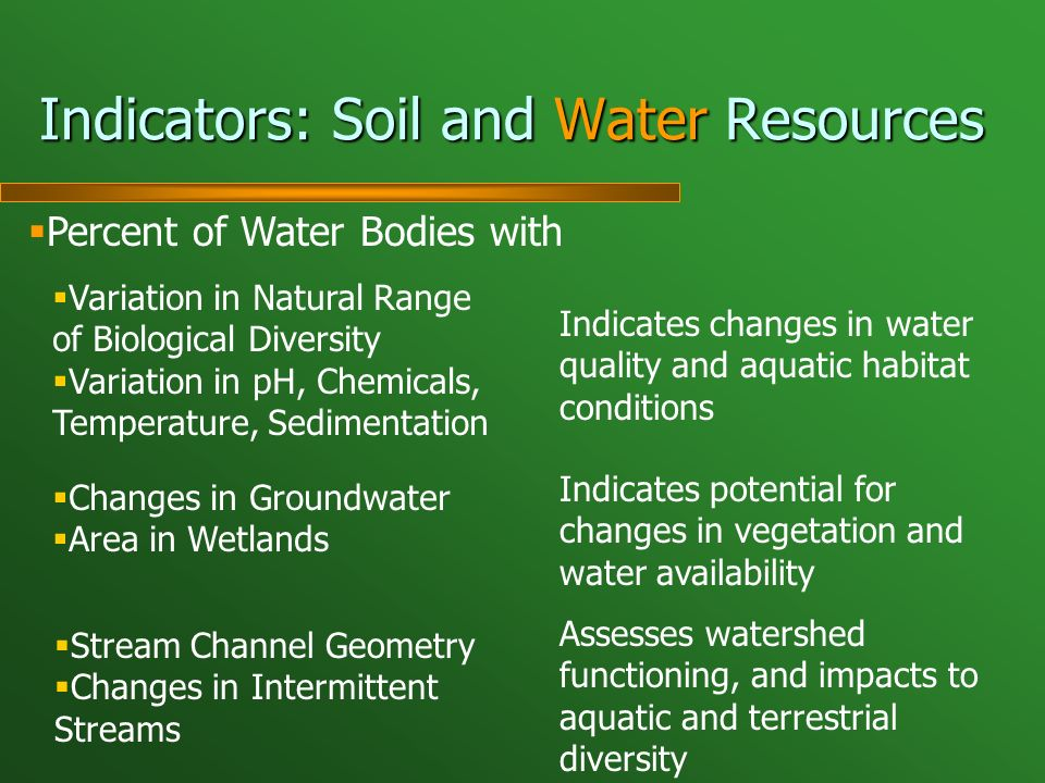 Indicators: Soil and Water Resources Percent of Water Bodies with Variation in Natural Range of Biological Diversity Variation in pH, Chemicals, Temperature, Sedimentation Changes in Groundwater Area in Wetlands Stream Channel Geometry Changes in Intermittent Streams Indicates changes in water quality and aquatic habitat conditions Indicates potential for changes in vegetation and water availability Assesses watershed functioning, and impacts to aquatic and terrestrial diversity