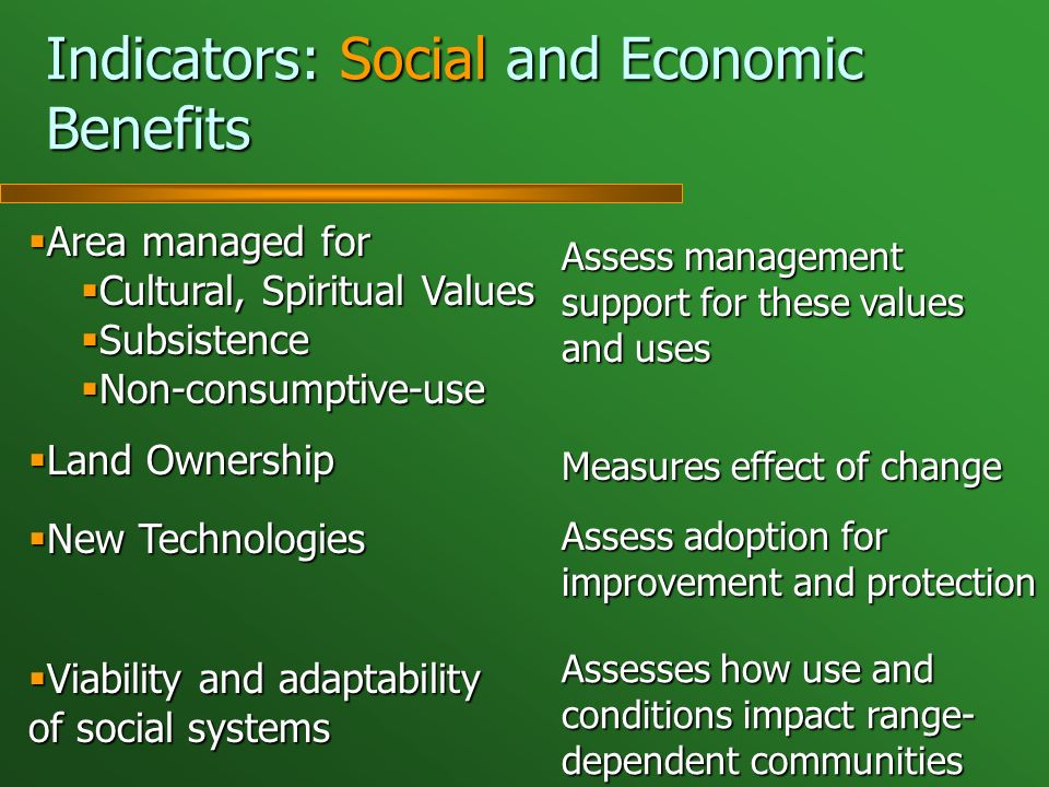 Indicators: Social and Economic Benefits Area managed for Area managed for Cultural, Spiritual Values Cultural, Spiritual Values Subsistence Subsistence Non-consumptive-use Non-consumptive-use Land Ownership Land Ownership New Technologies New Technologies Viability and adaptability of social systems Viability and adaptability of social systems Assess management support for these values and uses Measures effect of change Assess adoption for improvement and protection Assesses how use and conditions impact range- dependent communities