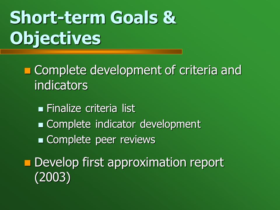 Short-term Goals & Objectives Complete development of criteria and indicators Complete development of criteria and indicators Finalize criteria list Finalize criteria list Complete indicator development Complete indicator development Complete peer reviews Complete peer reviews Develop first approximation report (2003) Develop first approximation report (2003)