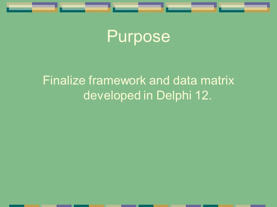 Purpose Finalize framework and data matrix developed in Delphi 12.