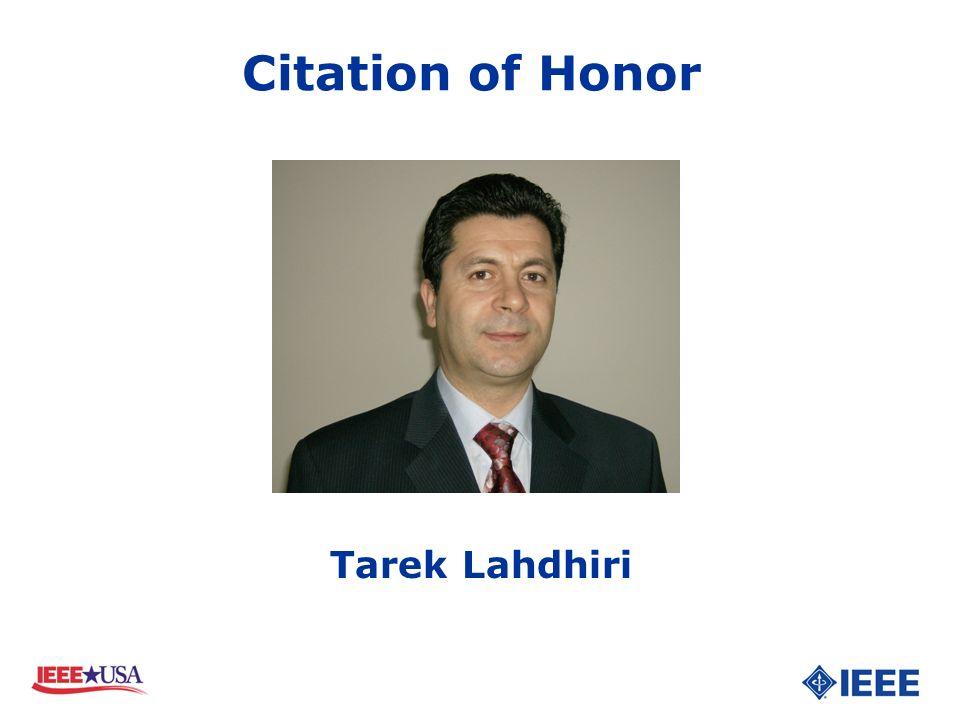 Tarek Lahdhiri Citation of Honor