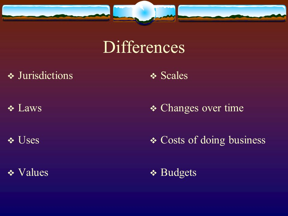 Differences Jurisdictions Laws Uses Values Scales Changes over time Costs of doing business Budgets