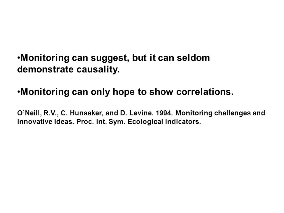 Monitoring can suggest, but it can seldom demonstrate causality.