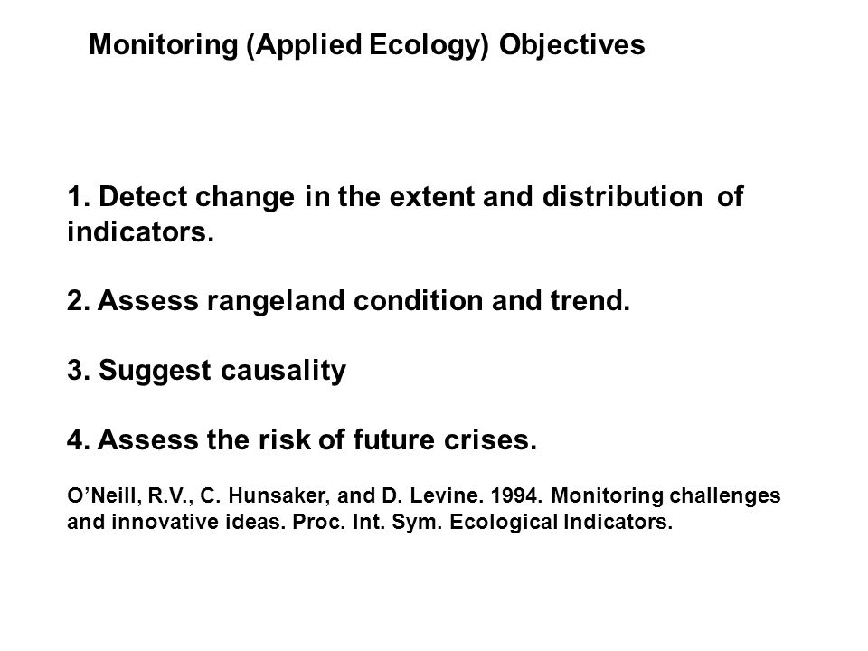 Monitoring (Applied Ecology) Objectives 1.