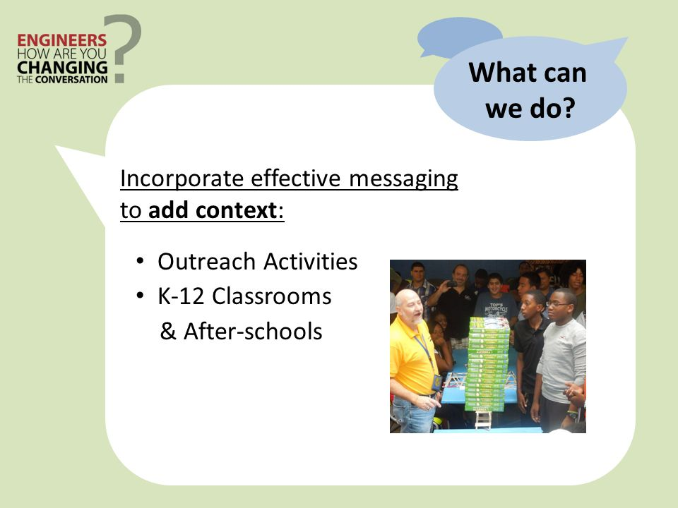 Outreach Activities K-12 Classrooms & After-schools What can we do.