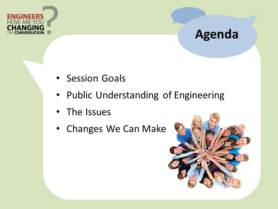 Session Goals Public Understanding of Engineering The Issues Changes We Can Make Agenda