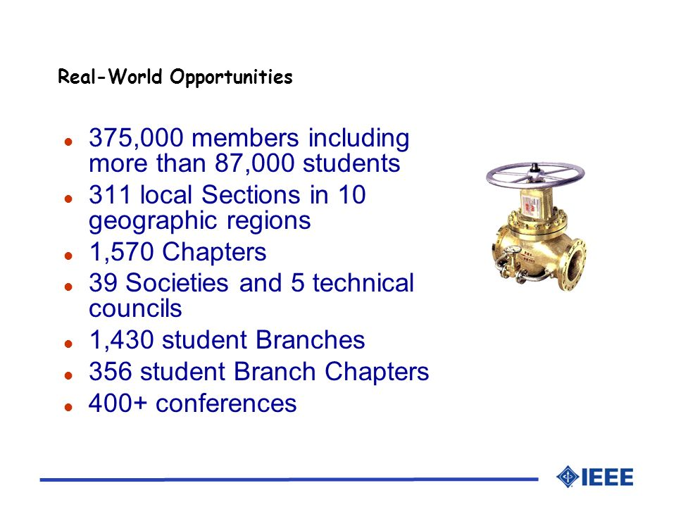 l 375,000 members including more than 87,000 students l 311 local Sections in 10 geographic regions l 1,570 Chapters l 39 Societies and 5 technical councils l 1,430 student Branches l 356 student Branch Chapters l 400+ conferences Real-World Opportunities