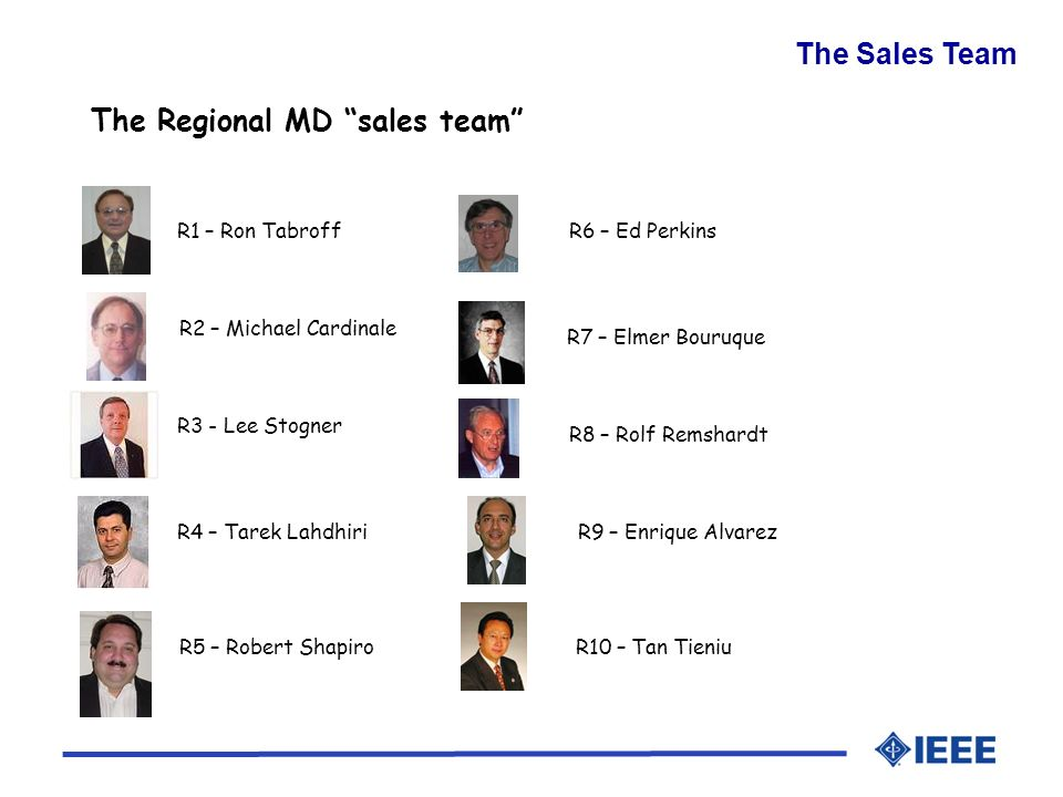 The Sales Team R3 - Lee Stogner R4 – Tarek Lahdhiri R8 – Rolf Remshardt R7 – Elmer Bouruque R9 – Enrique Alvarez R5 – Robert Shapiro R2 – Michael Cardinale R6 – Ed PerkinsR1 – Ron Tabroff R10 – Tan Tieniu The Regional MD sales team