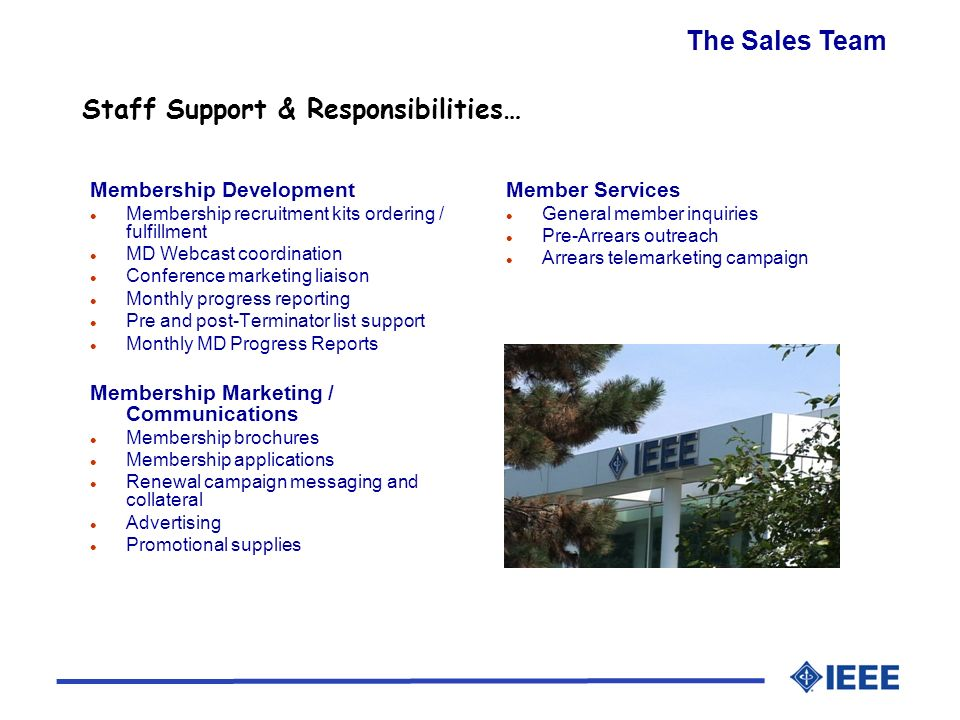 Staff Support & Responsibilities… The Sales Team Membership Development l Membership recruitment kits ordering / fulfillment l MD Webcast coordination