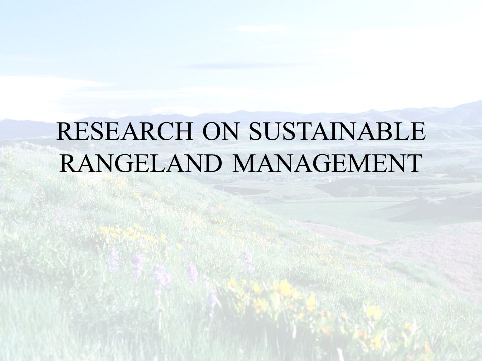 RESEARCH ON SUSTAINABLE RANGELAND MANAGEMENT