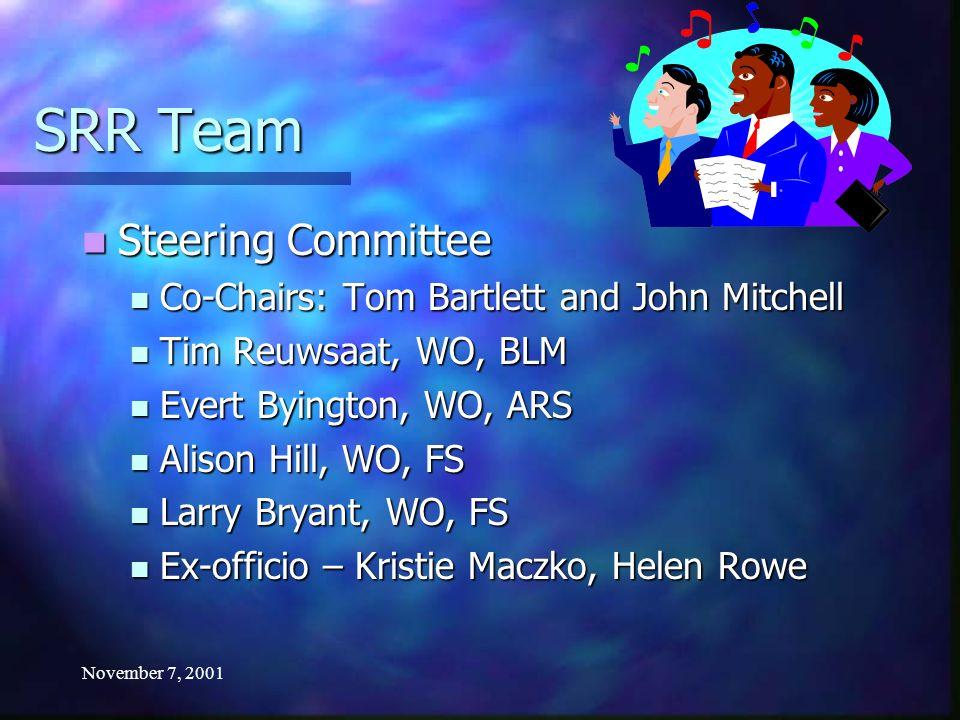 November 7, 2001 SRR Team Steering Committee Steering Committee Co-Chairs: Tom Bartlett and John Mitchell Co-Chairs: Tom Bartlett and John Mitchell Ti