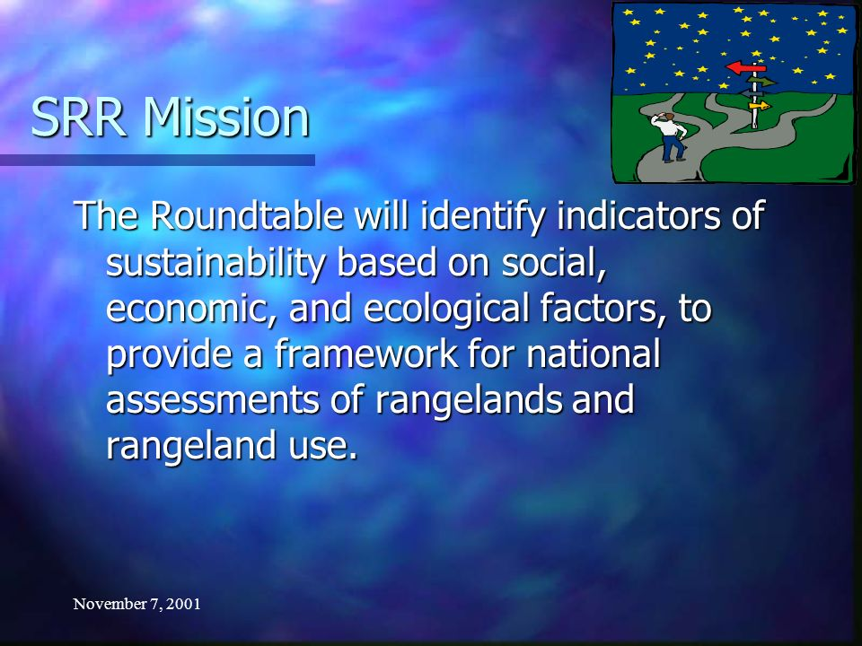 November 7, 2001 SRR Guiding Principles 5.Review and consider other indicator initiatives.