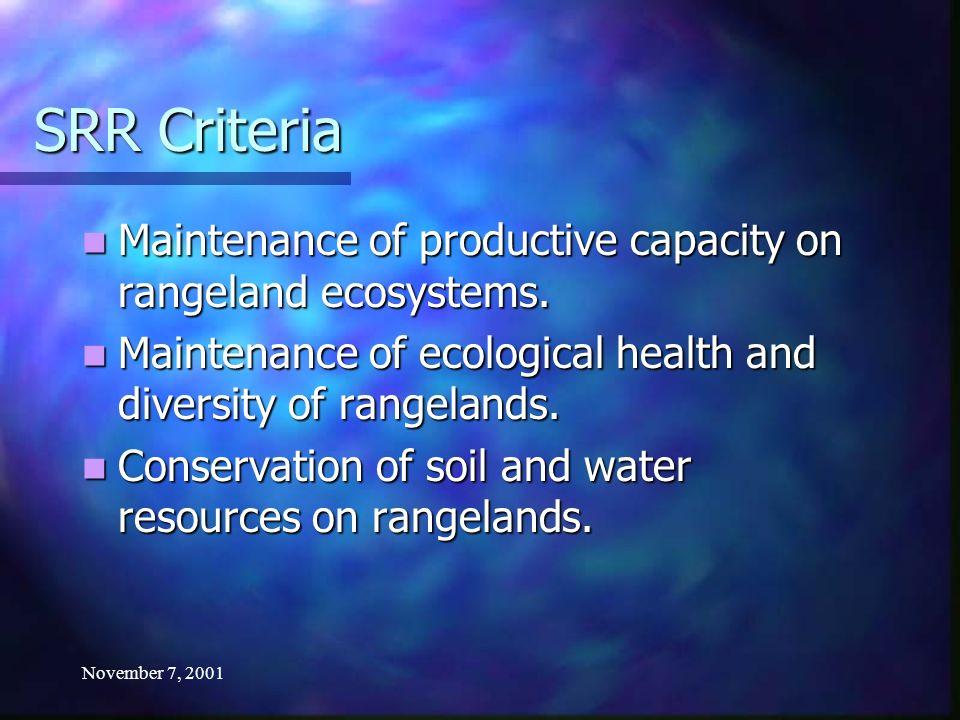 November 7, 2001 SRR Criteria Maintenance of productive capacity on rangeland ecosystems. Maintenance of productive capacity on rangeland ecosystems.