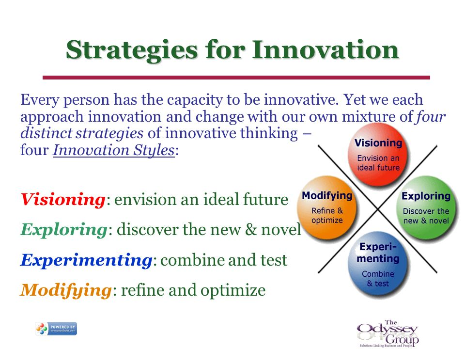 Strategies for Innovation Every person has the capacity to be innovative. Yet we each approach innovation and change with our own mixture of four dist