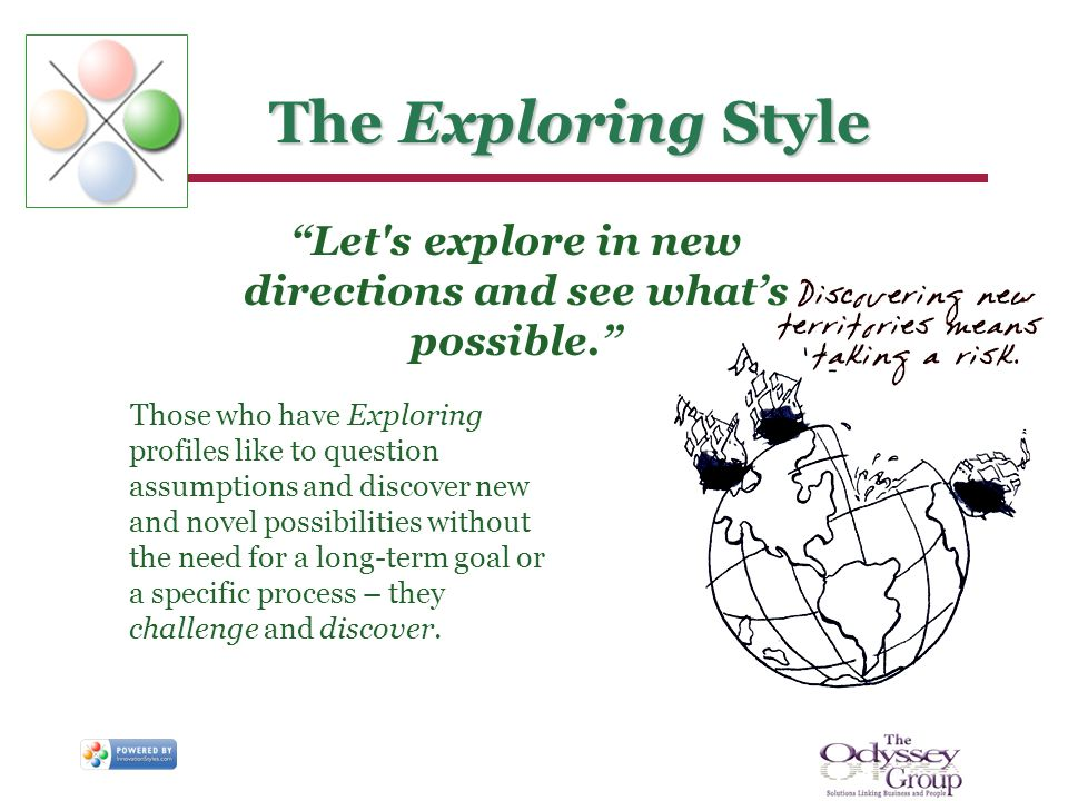 The Exploring Style Those who have Exploring profiles like to question assumptions and discover new and novel possibilities without the need for a lon