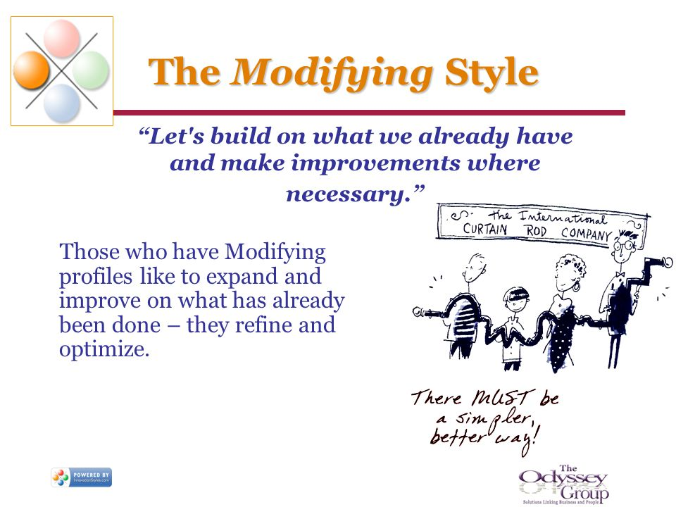 The Modifying Style Those who have Modifying profiles like to expand and improve on what has already been done – they refine and optimize. Let's build