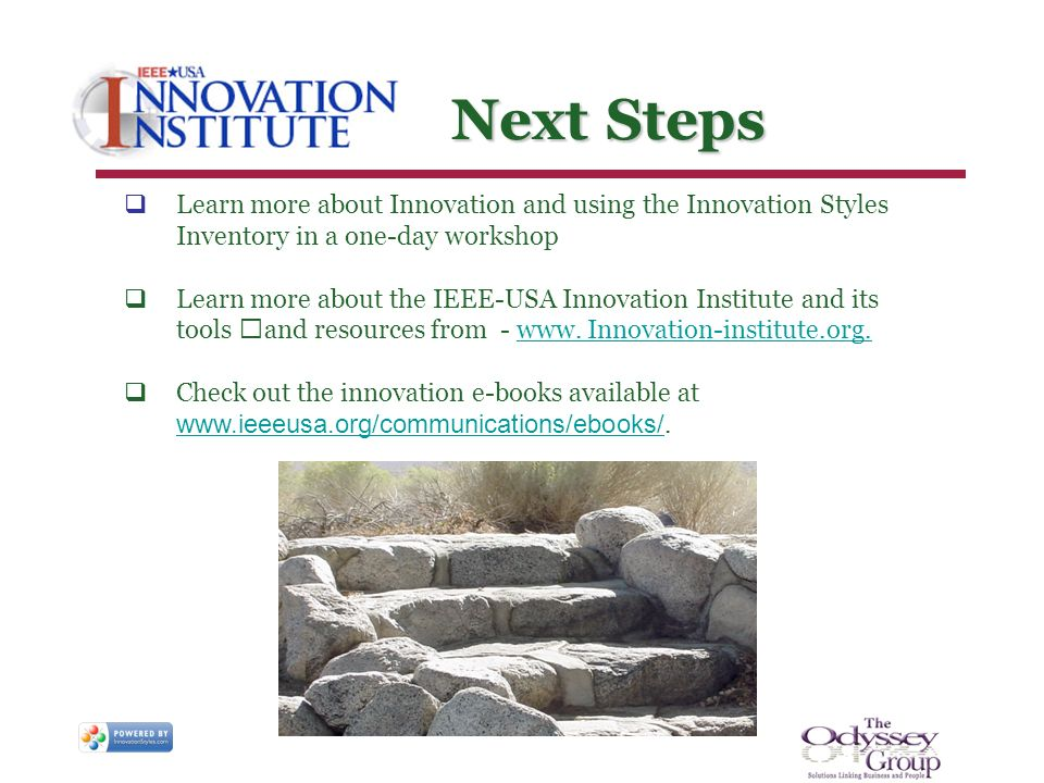 Next Steps Next Steps Learn more about Innovation and using the Innovation Styles Inventory in a one-day workshop Learn more about the IEEE-USA Innova