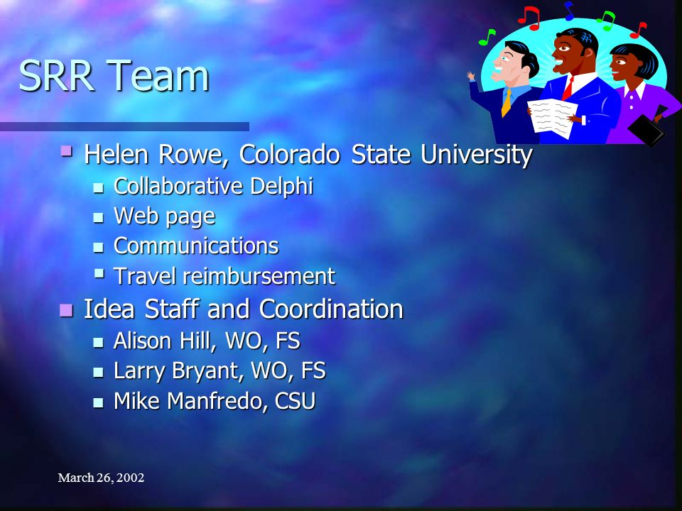 March 26, 2002 SRR Team Helen Rowe, Colorado State University Helen Rowe, Colorado State University Collaborative Delphi Collaborative Delphi Web page