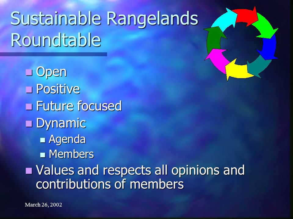 March 26, 2002 Sustainable Rangelands Roundtable Open Open Positive Positive Future focused Future focused Dynamic Dynamic Agenda Agenda Members Members Values and respects all opinions and contributions of members Values and respects all opinions and contributions of members