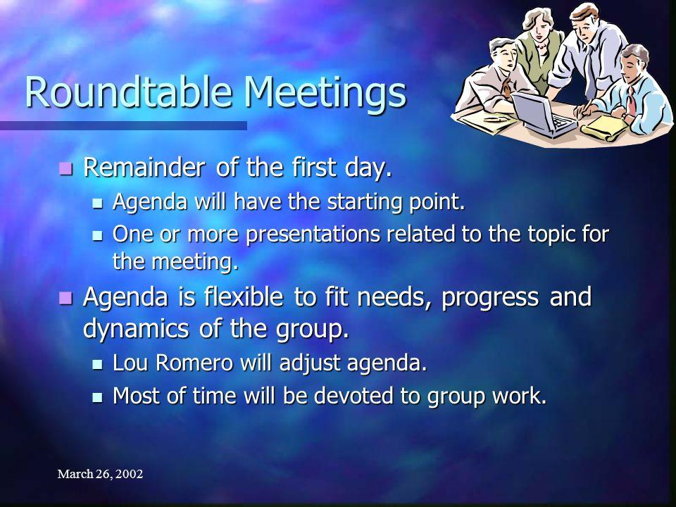 March 26, 2002 Schedule of Meetings 2002 Tucson, AZJan.