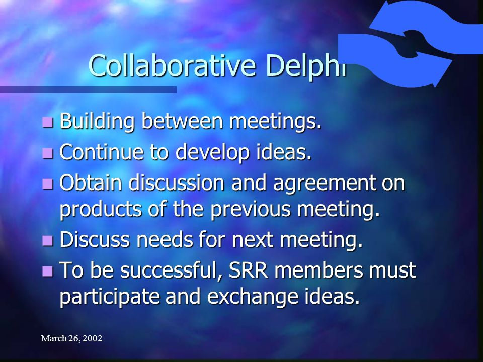 March 26, 2002 Collaborative Delphi Open-ended or opinion questions sent out to participants.